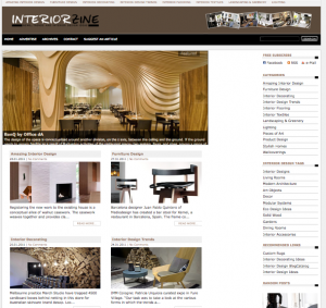 a view of the home page of Interiorzine